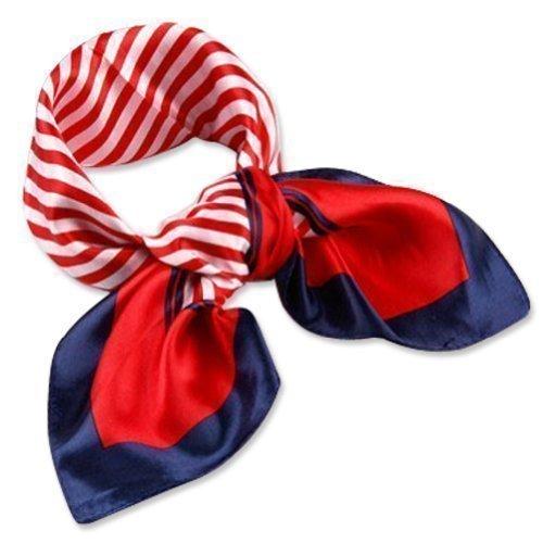 Neck Square Scarf Cool Silk Feel Red White Blue Bandana Women Ladies Stewardess Hand Head Handbag Multiuse