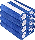 Utopia Towels Cabana Stripe Beach Towels, Blue, (30 x 60 Inches) - 100% Ring Spun Cotton Large Pool Towels, Soft and Quick Dry Swim Towels (Pack of 4)