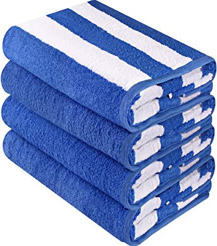 Utopia Towels - Toallas de playa Cabana de calidad superior - Paquete de 4 toallas de piscina Cabana Stripe (76 x 152 cm) - Toallas de uso múltiple con alta absorbencia