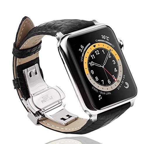 Sea Sha コンパチブル apple watch バンド44mm ワニ革 ベルト/ビジネス用 アップルウォッチ ベルト44mm ワニレザー プッシュ式 Dバックル 手作りApple Watch Nike,?Apple Watch Series 6 /