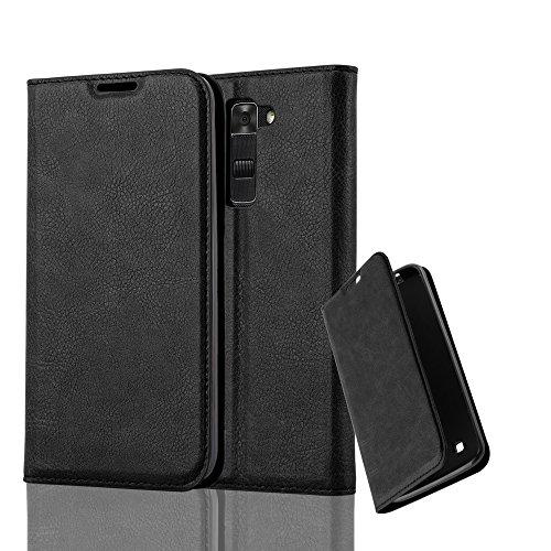 Cadorabo Hülle für LG K7 2017 - Hülle in Nacht SCHWARZ – Handyhülle mit Magnetverschluss, Standfunktion und Kartenfach - Case Cover Schutzhülle Etui Tasche Book Klapp Style