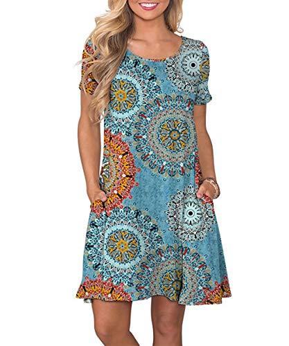 Yidarton Sommerkleid Damen Casual Lose Kurzarm T-Shirt Kleider Elegant Boho Blumen Strand Kleider mit Taschen(or,XL)