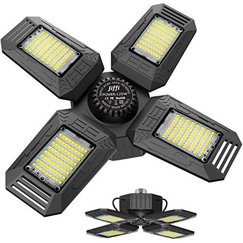 Jiffi 120W LED Garage Lighting, Deformable Garage Light, 12000LM 6500K Four-Leaf Garage Ceiling Light Fixtures with Adjustable Panels, E26/E27 Base, LED Shop Lights for Basement Workshop Warehouse