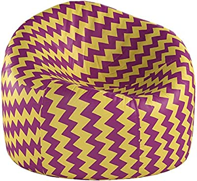 Big Comfy Bean Bag Chair: Posh Large Beanbag Chairs with Removable Cover for Kids, Teens and Adults - Polyester Cloth Puff Sack Lounger Furniture for All Ages - 48in Extra Large Bean Bag - Chevron Purple and Yellow