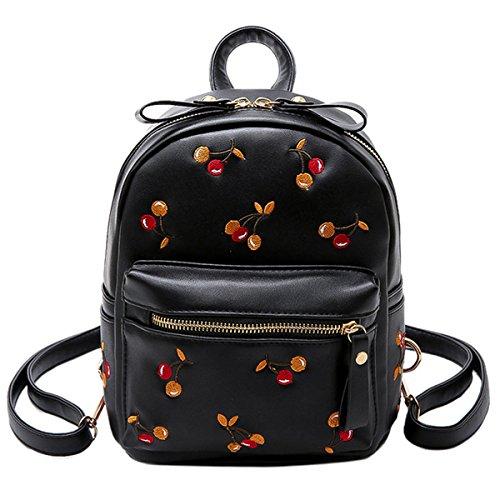 Milya 2019 Sommer Neue Mini-Umhängetasche Kirsche Bestickt Damen Freizeit-Tagesrucksack Daypacks Schultertasche Schulranzen Tasche Schwarz