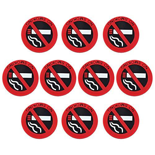 IWILCS 10 Stück Aufkleber Rauchen Verboten Auto, Rauchverbot Aufkleber, Verbotszeichen Rauchen, Nichtraucher Piktogramm, für Auto, Büro, Werkstatt, Gaststätte, Garage etc, 5cm