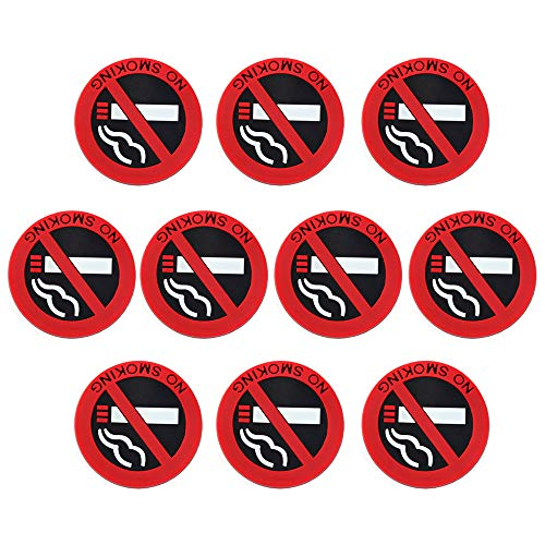 IWILCS 10 Piezas Autoadhesivo para no Fumar, Autoadhesivo para no Fumar, señal para no Fumar, Pictograma para no Fumar, para automóvil, Oficina, Taller, Restaurante, Garaje, etc, 5 cm