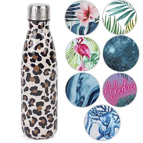 CAMBRIDGE Watercolour Leopard, Botella térmica CM06513, Acero Inoxidable, 500 ml Bottle
