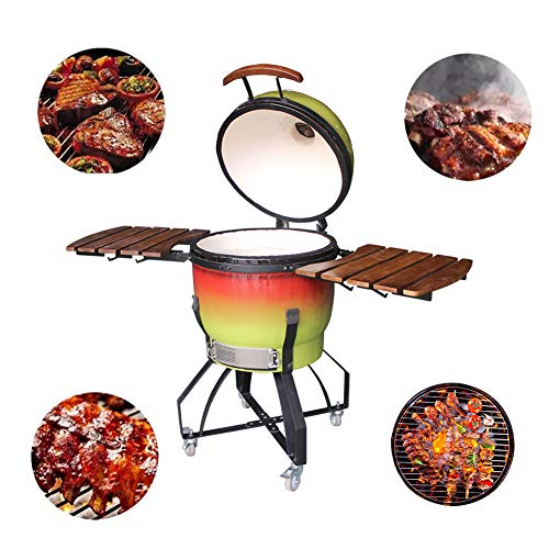 """RJMOLU 21"""" Outdoor Charcoal Pizza Oven Grill BBQ Kamado, Gradient Color Ceramic Barbecue Stove for Picnic Garden Terrace Camping Travel"""