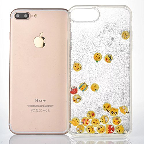 iPhone7 Case,iPhone7 Liquid Noctilucent Emoji Case,Goodaa Cute Lovely Noctilucent Luminous Emoji Bling Shiny Glitter Quicksand Cover Case for iPhone7(Silver)