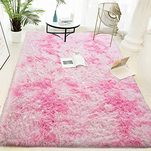 HETOOSHI alfombras mullidas de Interior súper Suaves y mullidas de Terciopelo Linda Alfombra de Dormitorio mullidaAdecuado para salón Dormitorio baño sofá Silla cojín(Rosa Claro 80 x 120 cm)