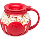 Ecolution Original Microwave Micro-Pop Popcorn Popper, Borosilicate Glass, 3-in-1 Silicone Lid, Dishwasher Safe, BPA Free, 1.5 Quart - Snack Size, Red