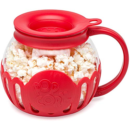 Ecolution Original Microwave Micro-Pop Popcorn Popper, Borosilicate Glass, 3-in-1 Silicone Lid, Dishwasher Safe, BPA Free, 1.5 Quart Snack Size, Red