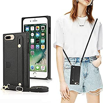 DEFBSC Finger Strap Case with Lanyard for iPhone 6 Plus/6s Plus/7 Plus/8 Plus PU Kickstand Case with Adjustable Crossbody Strap Finger Strap and Card Slot Cover for iPhone 7 Plus-Black