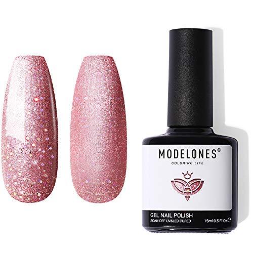 Gel Nail Polish 1Pcs 15ml Glitter Rose Gold Gel Polish Soak off Pink Nail Gel Ideal for Nail Salon DIY at home with Beauty Gift Set by Modelones