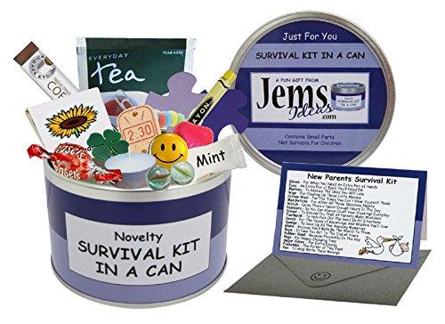 Survival Kit In A Can Überlebensausrüstung für zukünftige Eltern, Humorvolles Geschenk für frischgebackene Eltern / Mütter / Väter, für Babyaprtys / Mutterschaftsgeschenk & Karte