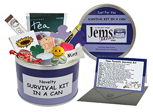 Mum & Dad To Be Survival Kit In A Can. Humorous Novelty Fun Gift - New Parents/Mother/Father. Baby Shower/Maternity Present & Card All In One. Customise Your Can Colour. (Purple/Lilac) by Jemsideas