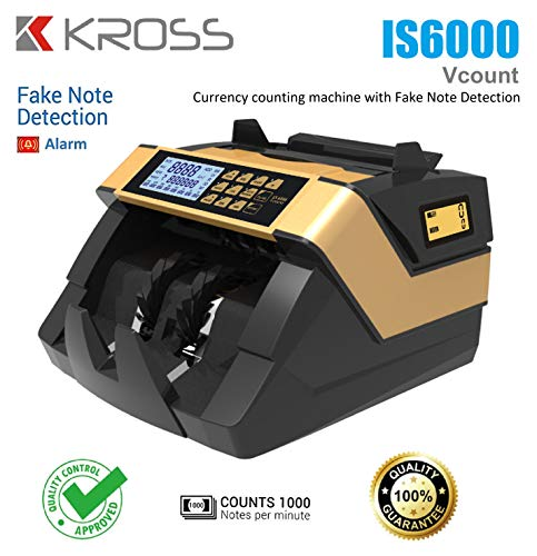 KROSS Semi Value Counter/Heavy Duty Currency Counting Machine, Note Counting Machine with Fake Note Detection Using UV/MG/MT & IR sensors Premium Quality for Professional use.