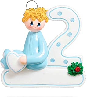 Personalized 2nd Christmas Boy Tree Ornament 2019 - Yellow Hair Baby Child Pajamas Hold Heart Second Milestone Mom PJs Lover Blonde Kid Grand-Son - Free Customization (Blonde)