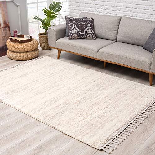 Teppich Hochflor Wohnzimmer - Ethno Stil Meliert 80x300 cm Creme - Teppich-Läufer mit Fransen