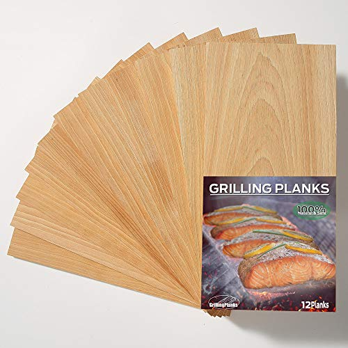 GrillingPlanks 12 Pack Cedar Planks for Grilling Salmon, Fish, Meat and Veggies. Add Extra Smoke and Flavor, Fast Soaking, Easy Using Cedar Grilling Planks