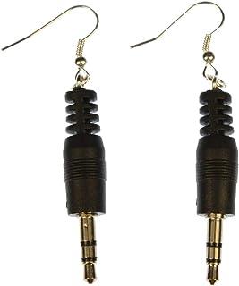 Miniblings Klinkenstecker Stecker Ohrringe Hänger Upcycling Audio Musik schwarz - Handmade Modeschmuck I Ohrhänger Ohrschmuck versilbert