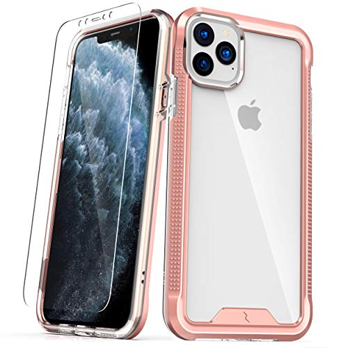 ZIZO ION Series for iPhone 11 Pro Case - Military Grade Drop Tested with Tempered Glass Screen Protector - Rose Gold/Clear