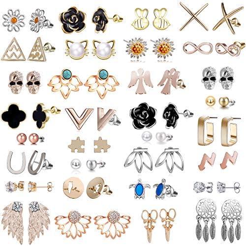 32 Pairs Assorted Stainless Steel Stud Earrings for Women Black Rose Flower Stud Earrings for product image