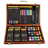DJY-JY - Caja de madera para pintar con forma de pastel de color blanco y negro, 76 cajas de regalo para acuarela, pintura al óleo, color pastel y plomo para niños, suministros de arte para dibujar