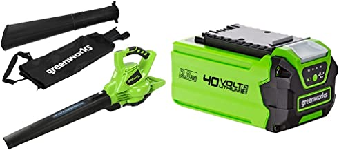 Greenworks Tools GD40BV Cordless Leaf Blower and Vacuum 2-in-1 & Battery G40B2 (Li-Ion 40V 2Ah Fast Charging System Withou...