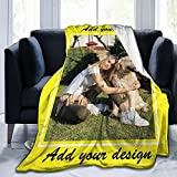Custom Blanket Personalized Blanket with Photos Text Collage Customized Picture Throw Blanke 3D Printed Throw Blanket Adult Children Birthday Gift Christmas Halloween Decoration,1 Photo 50'x40'