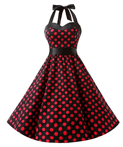 DRESSTELLS Neckholder Rockabilly 1950er Polka Dots Punkte Vintage Retro Cocktailkleid Petticoat Faltenrock Black Red Dot M