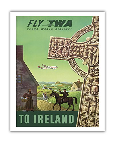 to Ireland - Celtic Cross - Trans World Airlines Fly TWA - Vintage Airline Travel Poster by S. Greco c.1950s - Fine Art Print - 11in x 14in -  Pacifica Island Art, Inc., APB3069