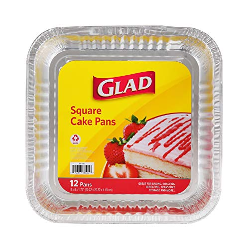 """Glad Disposable Bakeware Aluminum 8 Inch Square Cake Pans for Baking, Roasting, and Reheating, 12 Count 