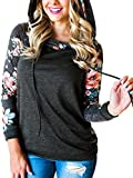 Angashion Damen Hoodies Langarm Kapuzenpullover-Blumenmuster Casual Sweatshirt Pullover Bluse Oberteile- Gr. EU S(34), Dunkelgrau 2