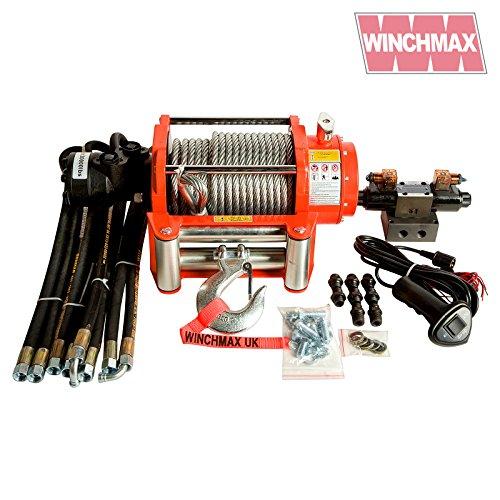 WINCHMAX 20000 lb / 9072 kg Original orangefarbene hydraulische Winde. 25m x 14mm Stahlseil. 1/2 Zoll Gabelhaken. Komplettes Kontrollsystem.