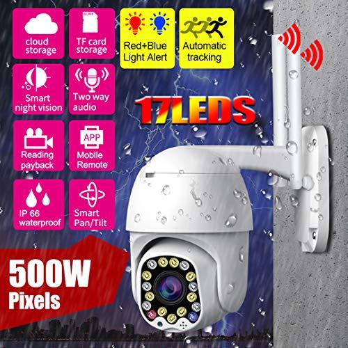 W.zz Cámaras Vigilancia 1080P Red WiFi Cámara Domo Seguimiento automático IP66 Cámara inalámbrica Prueba Agua HD Detección Movimiento Alarma Seguridad para el hogar