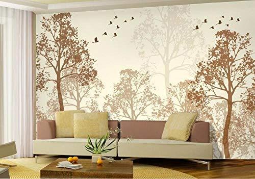 HQHZZQ Fotoblitz Klassische Einfachheit Trübe Schönheit Vogel Baum Kunst Tapeten Wandbild Tapetenmalerei für Wohnzimmer, 250x175 cm (98,4 x 68,9 Zoll)