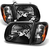 For 2005 2006 Toyota Tundra Double | Crew Cab Black Headlights W/Corner Lights Left + Right Side Pair
