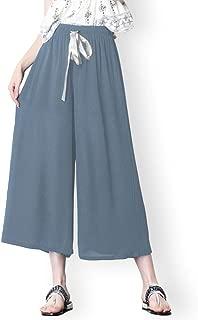 Culottes Elastic Waist Loose Paperbag Pants for Women Wide Chiffon Leg Gouchos
