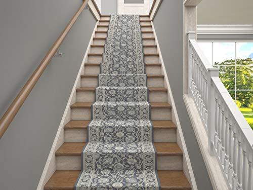 LuxuryCollection 25\' Stair Runner Teppiche Kashan Kollektion Treppenteppichläufer Fast 1 Million Punkte pro sq.Meter (Gray)