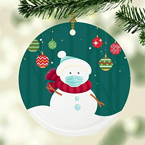 Monsety Snowman Wearing A Face Mask Christmas Ornament, ChristMASK 2020 Santa Ornament, Gift Christmas Tree