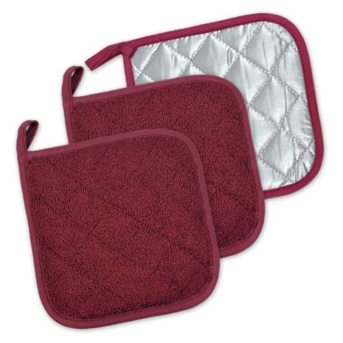 DII 100% Cotton, Quilted Terry Oven Set Machine Washable, Heat Resistant with Hanging Loop, Potholder, Wine 3 Piece