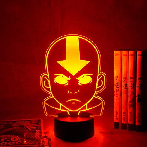 Avatar The Last Airbender 3d luz nocturna para niños decoración de dormitorio infantil luz nocturna la leyenda de Aang figura escritorio lámpara 3d decoraciones navideñas al aire libre DUYAO00
