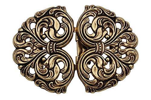 Hartmann-Knöpfe wunderschöne Gold antik Trachtenschliesse, Schürze Dirndl Tracht Schließe Schnalle Metall 58mmx42mm Made in Germany (1 Stück)