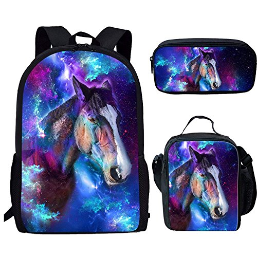 FOR U DESIGNS Universe Horse Backpack Set 3 Piece,High School Backpack for Women Teen Girls
