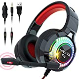 Nivava Gaming Headset for PS4, Xbox One, PC Headphones with Microphone LED Light Mic for Nintendo Switch PS5 Playstation Computer, K6(Red)