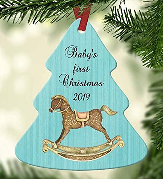 Baby S First Christmas 2019 Ornament Aqua Blue Background With Rocking Horse