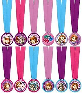 "Amscan Disney Sofia The First Birthday Party Mini Award Medal Favor (12 Piece), Multicolor, 13"""