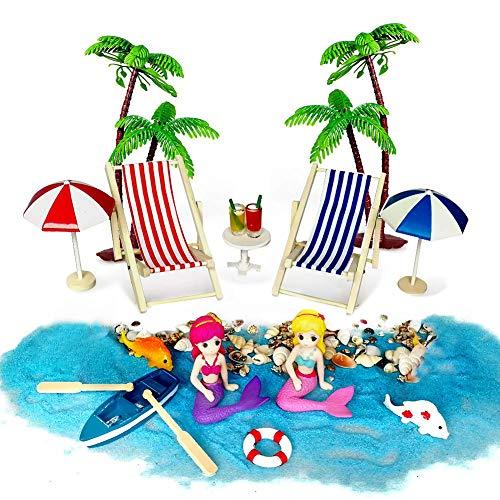 Aibesser Mini-ligstoel, decoratief, 19 stuks, strand, microlandschap, mini-strand, decoratie, parasol, boot of strand, palm decoratie mini-accessoires.